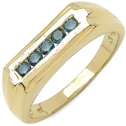 0.25CTW Genuine Blue Diamond .925 Sterling Silver Gold Plated Ring