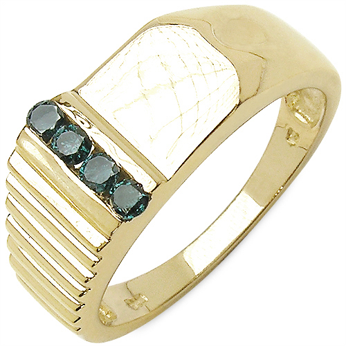 0.20CTW Genuine Blue Diamond .925 Sterling Silver Gold Plated Ring