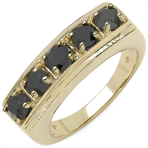 1.10CTW Genuine Black Diamond .925 Sterling Silver Gold Plated Ring