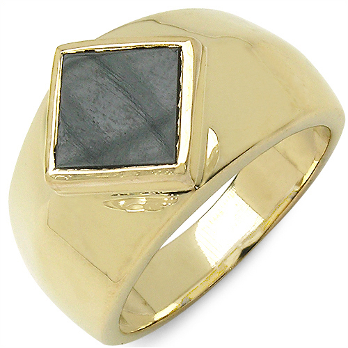 2.00CTW Onyx .925 Sterling Silver Gold Plated Ring