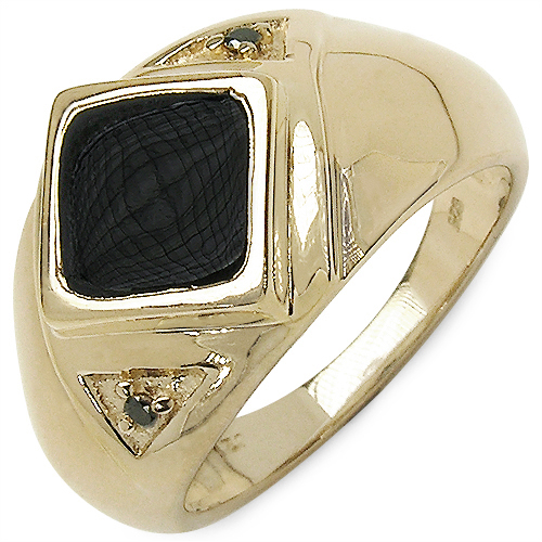 0.46CTW Genuine Black Diamond & Onyx .925 Sterling Silver Gold Plated Ring
