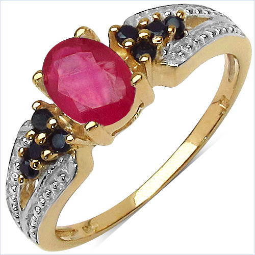 1.20CTW Glass Filled Ruby & Black Spinel.925 Sterling Silver 14K Yellow Gold Plated Ring