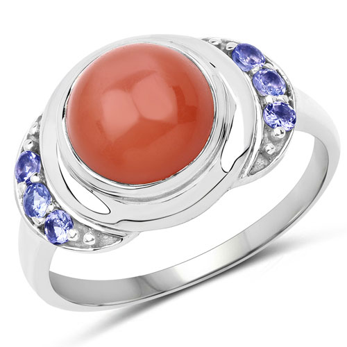 3.01CTW Genuine Peach Moonstone & Tanzanite .925 Sterling Silver Cocktail Ring