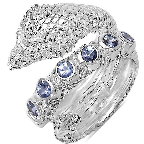 0.84CTW Genuine Tanzanite .925 Sterling Silver Snake Shape Ring