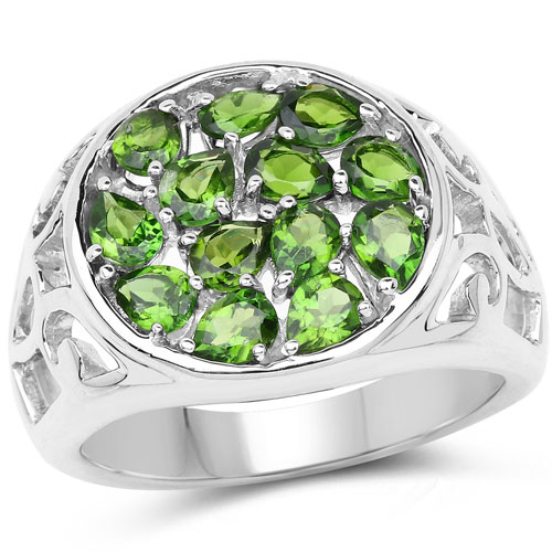 2.21CTW Genuine Chrome Diopside .925 Sterling Silver Cluster Ring