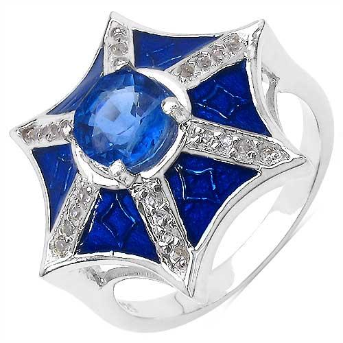 1.22CTW Genuine Kyanite & White Topaz .925 Sterling Silver Blue Enamel Ring