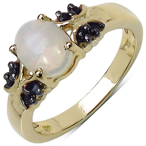 1.09CTW Genuine Opal & Black Spinel 14K Yellow Gold Plated .925 Sterling Silver Ring