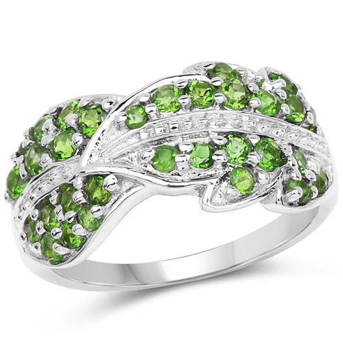 1.11CTW Genuine Chrome Diopside .925 Sterling Silver Cluster Ring