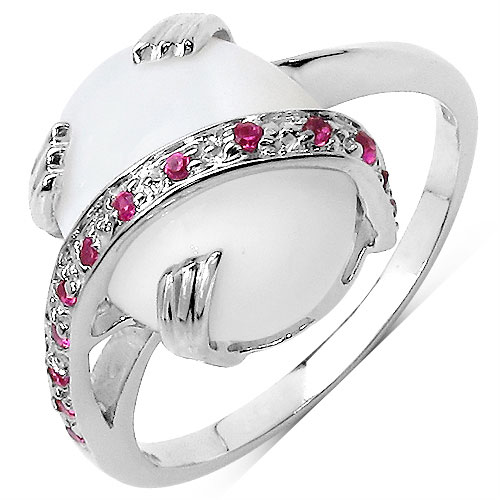 2.90CTW Genuine Opal & Created Ruby .925 Sterling Silver Ring