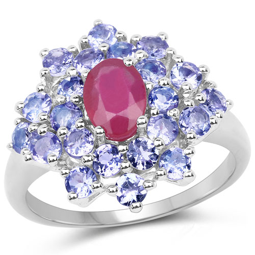 2.54CTW Genuine Glass Filled Ruby & Tanzanite .925 Sterling Silver Cocktail Ring
