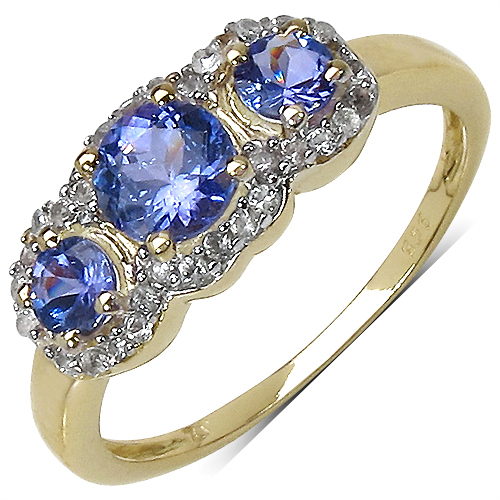 1.01CTW Genuine Tanzanite & White Topaz 14K Yellow Gold Plated .925 Sterling Silver Ring