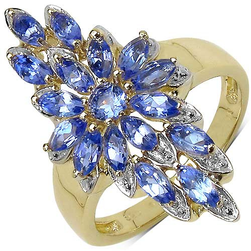 1.19CTW Genuine Tanzanite 14K Yellow Gold Plated .925 Sterling Silver Ring