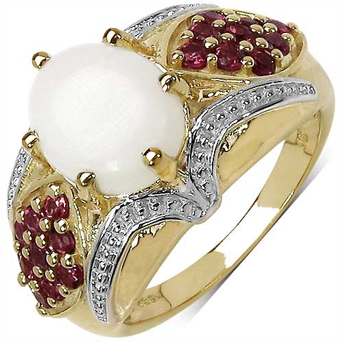 2.61CTW Genuine Opal & Rhodolite 14K Yellow Gold Plated .925 Sterling Silver Ring