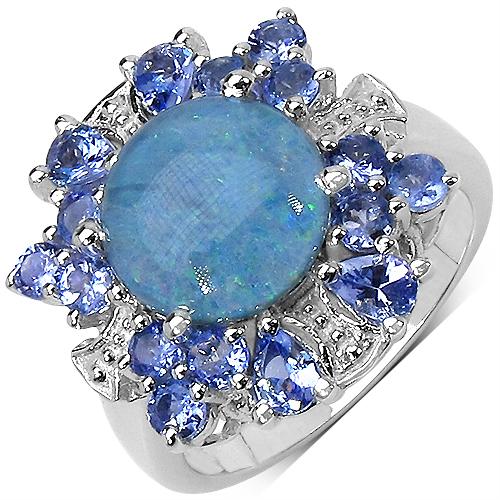 4.10CTW Genuine Opal & Tanzanite .925 Sterling Silver Ring