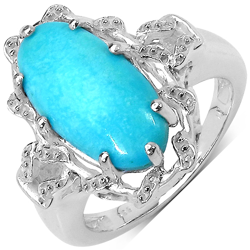 3.70CTW Genuine Turquoise .925 Sterling Silver Ring