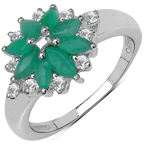 1.36CTW Genuine Emerald & White Topaz .925 Sterling Silver Ring