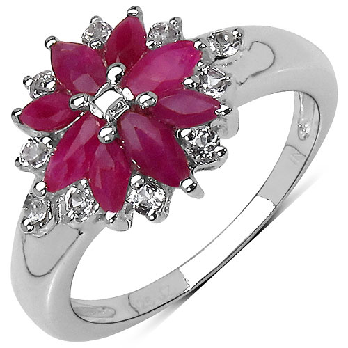1.68CTW Genuine Ruby & White Topaz .925 Sterling Silver Ring