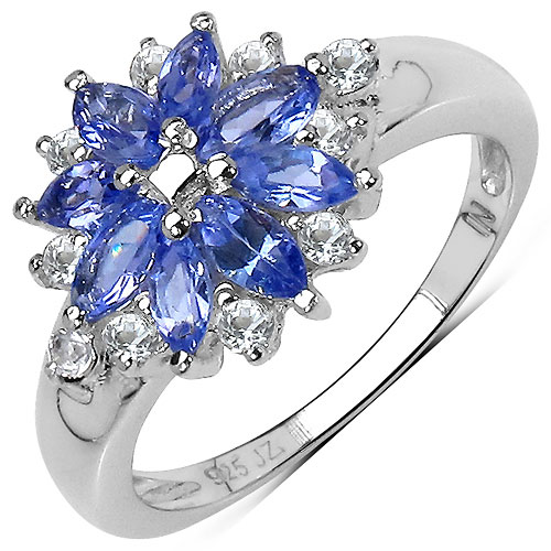 1.24CTW Genuine Tanzanite & White Topaz .925 Sterling Silver Ring