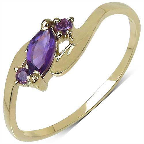0.31CTW Genuine Amethyst 14K Yellow Gold Plated .925 Sterling Silver  Ring
