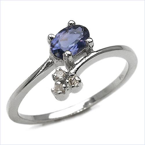 0.50CTW Genuine Iolite & Diamond .925 Sterling Silver Ring