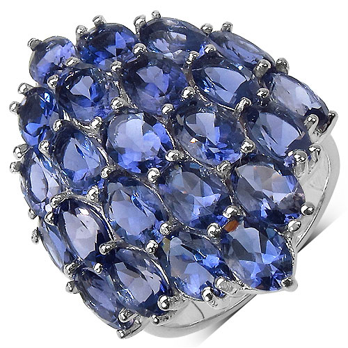 8.28CTW Genuine Iolite .925 Sterling Silver Ring
