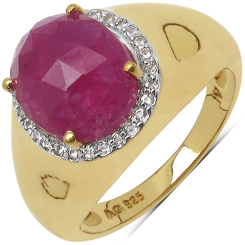 3.90CTW Genuine Pink Sapphire & White Topaz .925 Sterling Silver 14K Yellow Gold Plated Ring