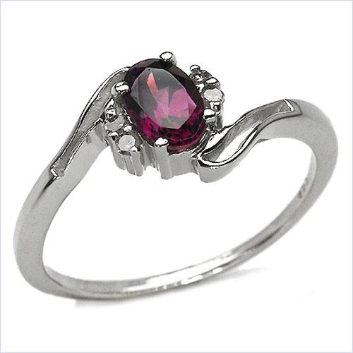 0.49CTW Genuine Rhodolite & Diamond .925 Sterling Silver Ring