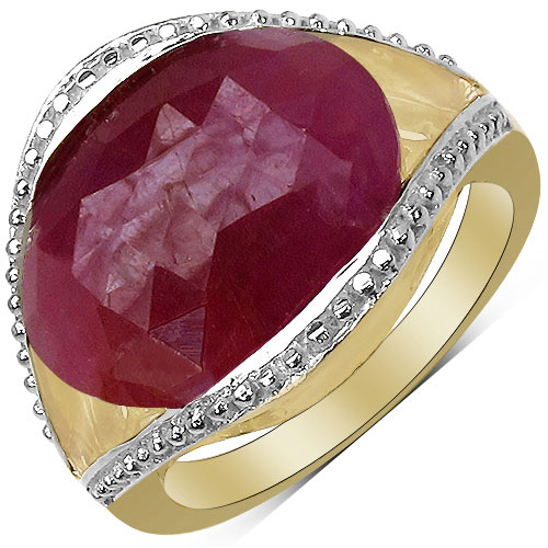 9.30CTW Genuine Pink Sapphire & White Diamond 14K Yellow Gold Plated .925 Sterling Silver Ring