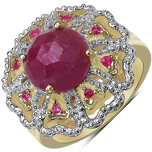 """5.48CTW Genuine Pink Sapphire, Ruby & White Diamond 14K Yellow Gold Plated .925 Sterling Silver Ring"""