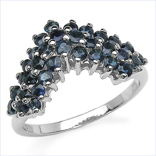 1.65CTW Genuine Blue Sapphire .925 Sterling Silver Ring