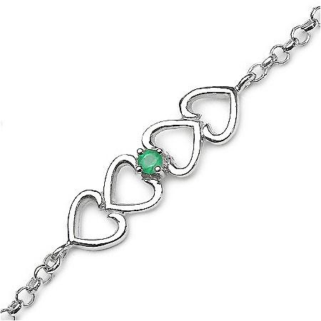 0.10CTW Emerald .925 Sterling Silver Rakhi