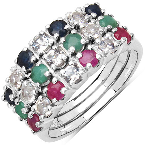 """1.68CTW Genuine Blue Sapphire, Ruby, Emerald & White Topaz .925 Sterling Silver Set of 3 Rings"""