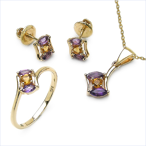 1.30CTW 18K Yellow Gold Amethyst & White Diamond Jewellery Set