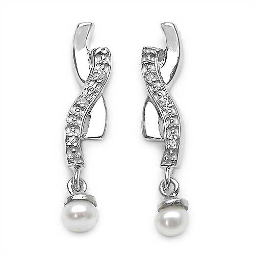 0.76CTW White Pearl & Cubic Zirconia .925 Sterling Silver Earrings