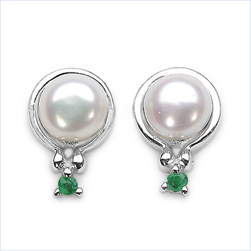 2.06CTW White Pearl & Emerald .925 Sterling Silver Earrings