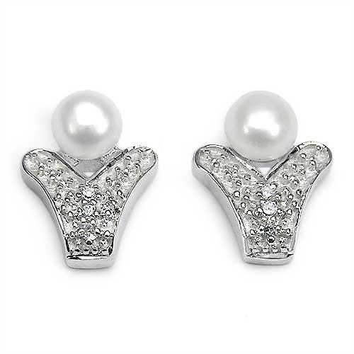 0.76CTW Genuine Pearl & Cubic Zircon .925 Sterling Silver Earrings