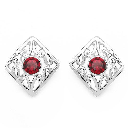 0.24CTW Genuine Garnet .925 Sterling Silver Earrings